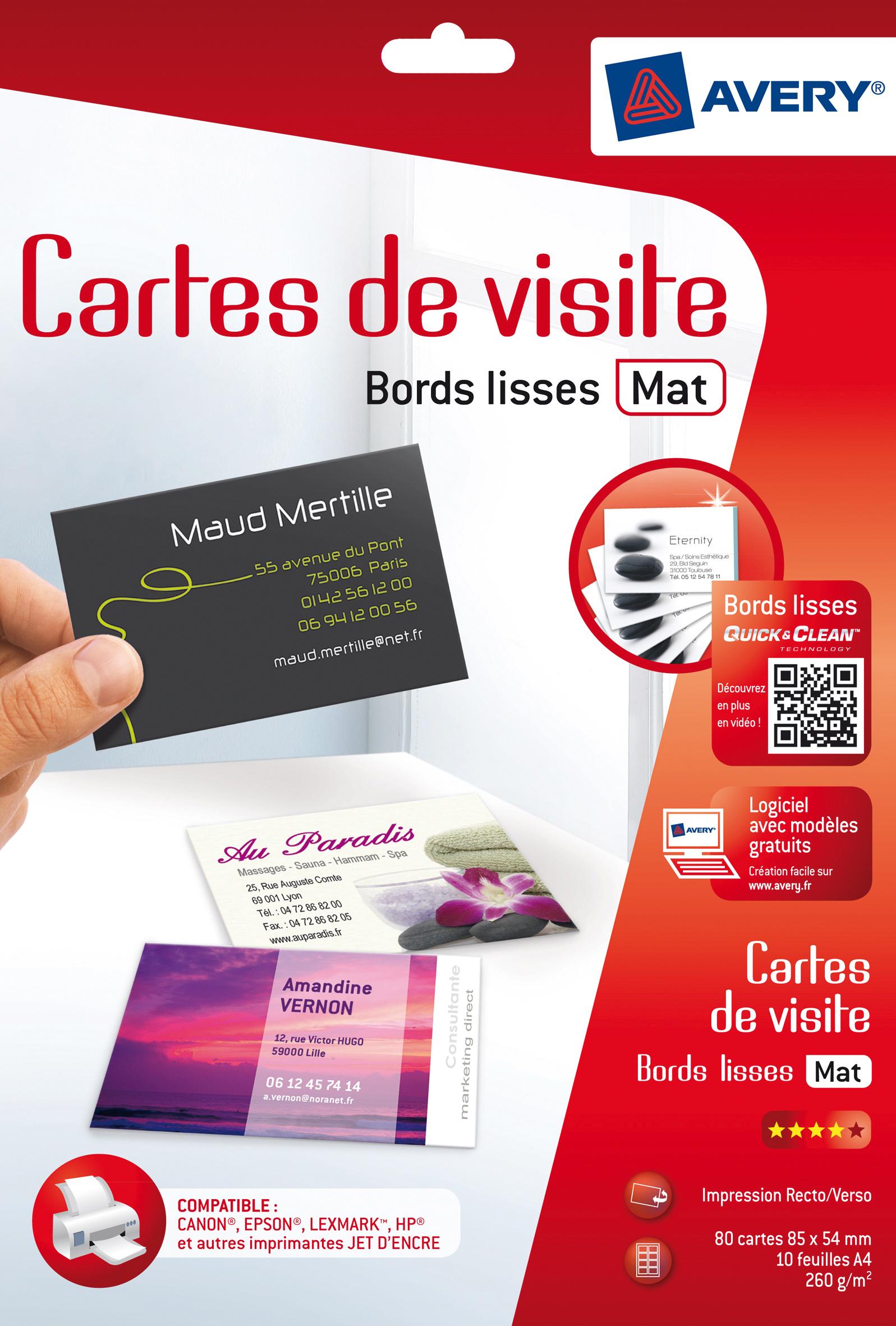 Carte De Visite Bords Lisses Mat 260 G M 540 X 850 Mm